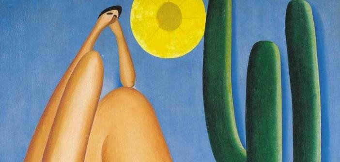 """Detalhe do quadro """"Abaporu"""" de Tarsila."""