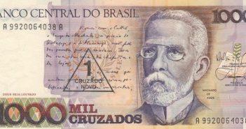 Machado de Assis estampa nota de 1 mil cruzados que, posteriormente, se tornaria 1 cruzado novo. FOTO: BANCO CENTRAL/DIVULGAÇÃO